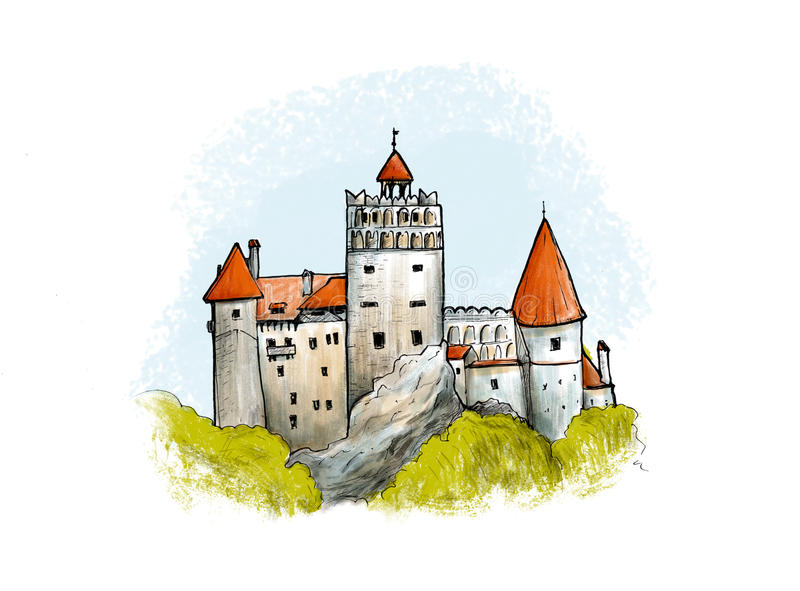 Bran castle colored drawing. Hand drawn illustration of famous fortress in Romania. Bran castle colored drawing. Hand drawn illustration of famous fortress in vector illustration