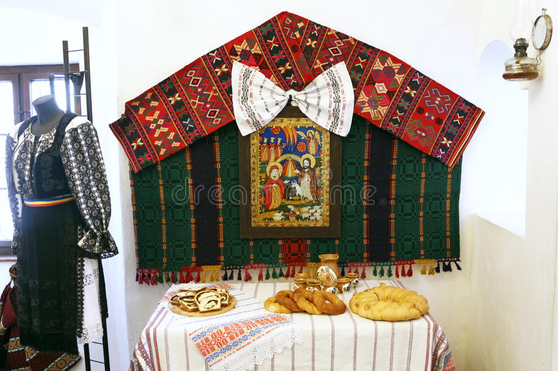 Bran Castle, Romania traditional food table. Bran Castle knows more as Dracula's castle. stock image