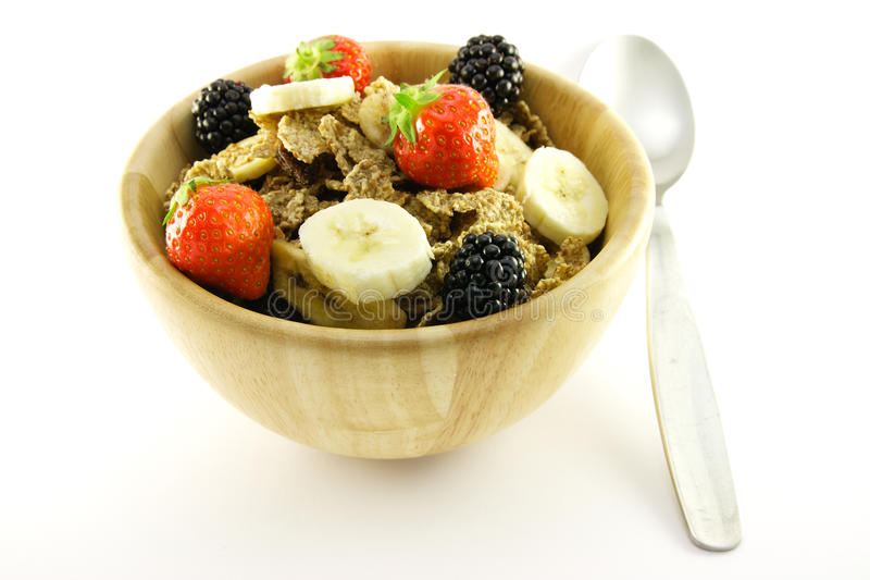 Download Bran Flakes In A Woodden Bowl Stock Image - Image: 11127081