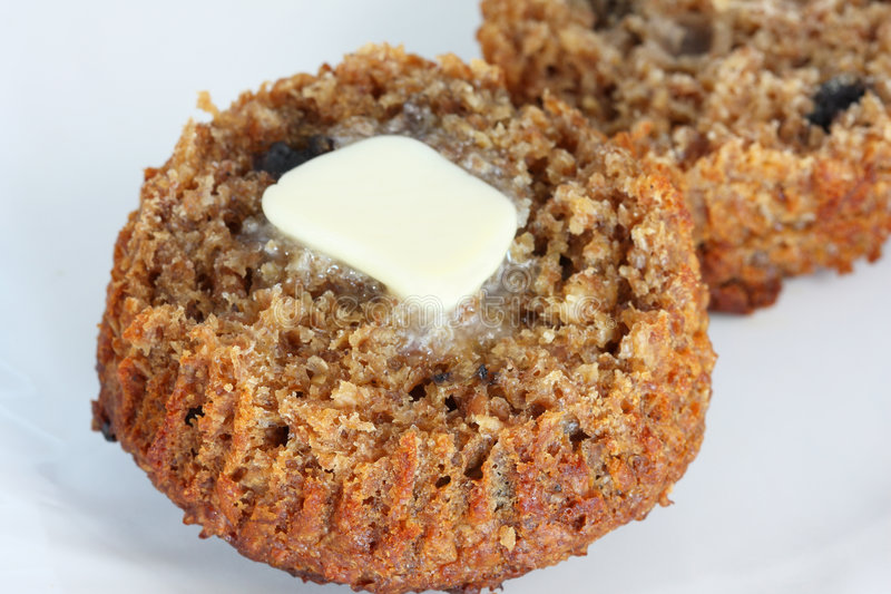 Download Bran muffin with butter stock photo. Image of snack, dairy - 7643506