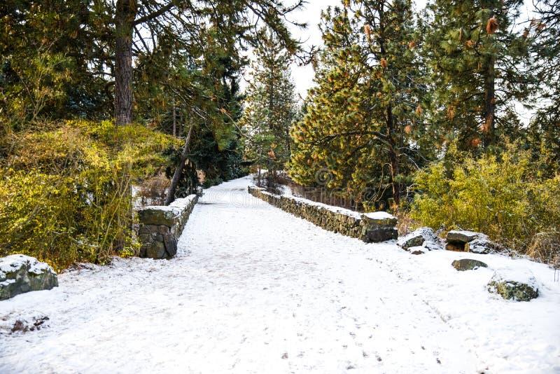 Branca Icy Snowy Caminhando Através De Uma Ponte De Pé Em Um Parque Em Freeze Winter, Spokane, Washington, Estados Unidos fotos de stock