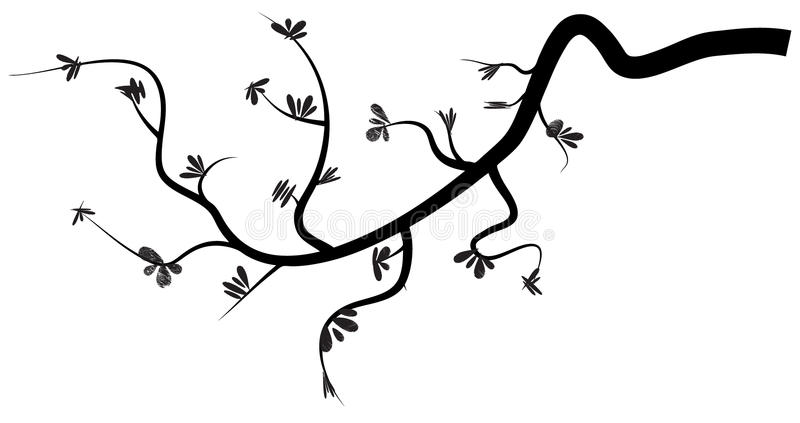 Branch. Vector of black branch with leaves stock illustration