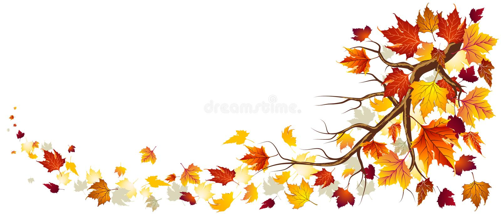 Branch With Autumn Leaves stock illustration
