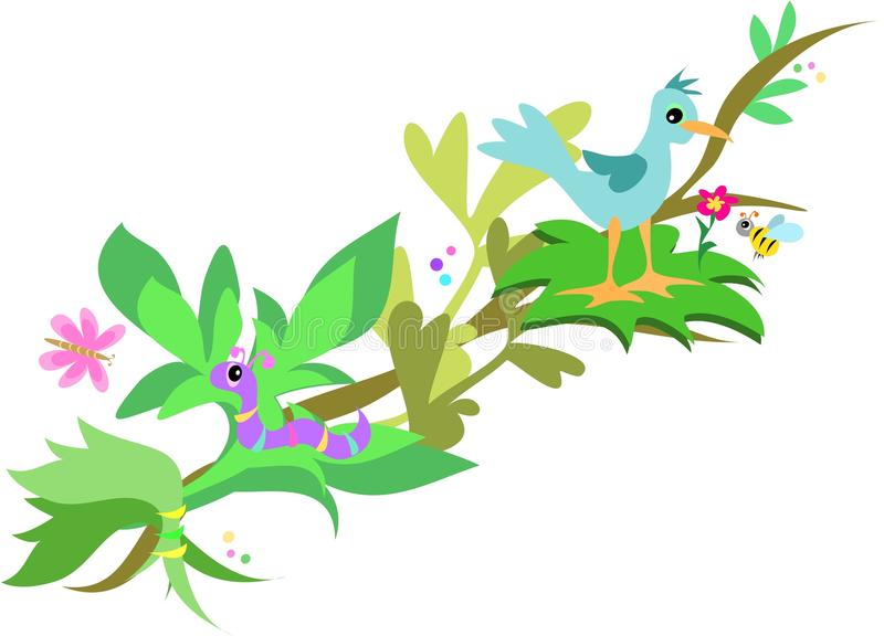 Download Branch With Bird, Worm And Bee Stock Vector - Illustration of clip, wings: 10090947