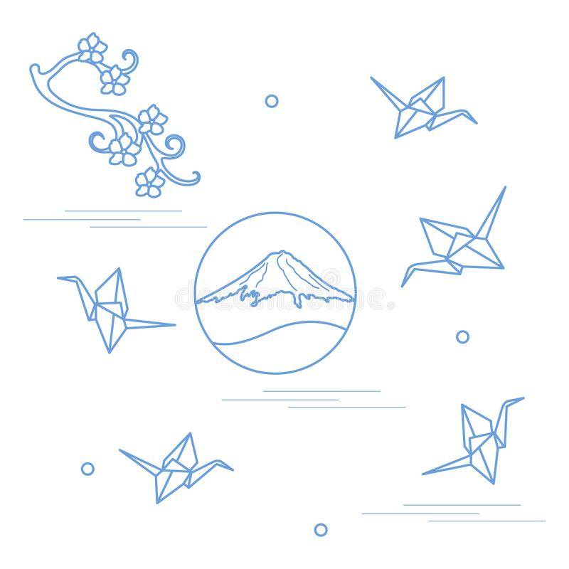 Branch of cherry blossoms, mount Fuji and origami paper cranes. Set of Japan traditional design elements stock illustration