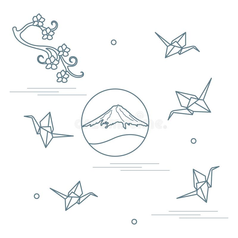 Branch of cherry blossoms, mount Fuji and origami paper cranes. Set of Japan traditional design elements royalty free illustration