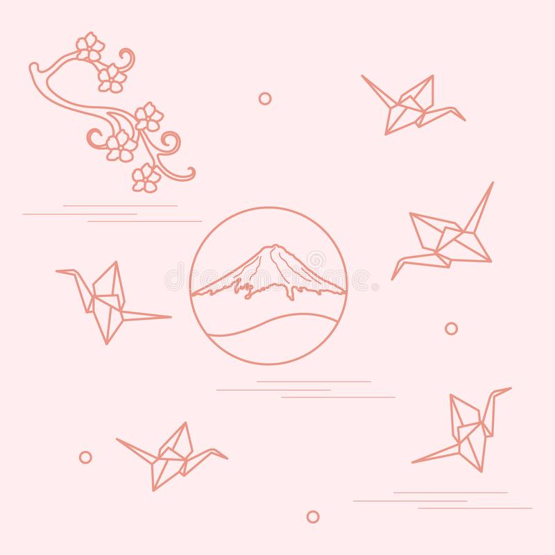 Branch of cherry blossoms, mount Fuji and origami paper cranes. Set of Japan traditional design elements vector illustration