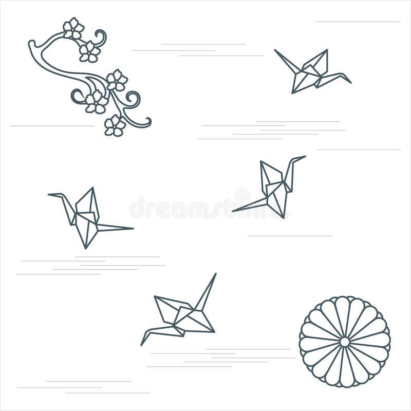Branch of cherry blossoms, sixteen petal chrysanthemum and origami paper cranes. Set of Japan traditional design elements stock illustration