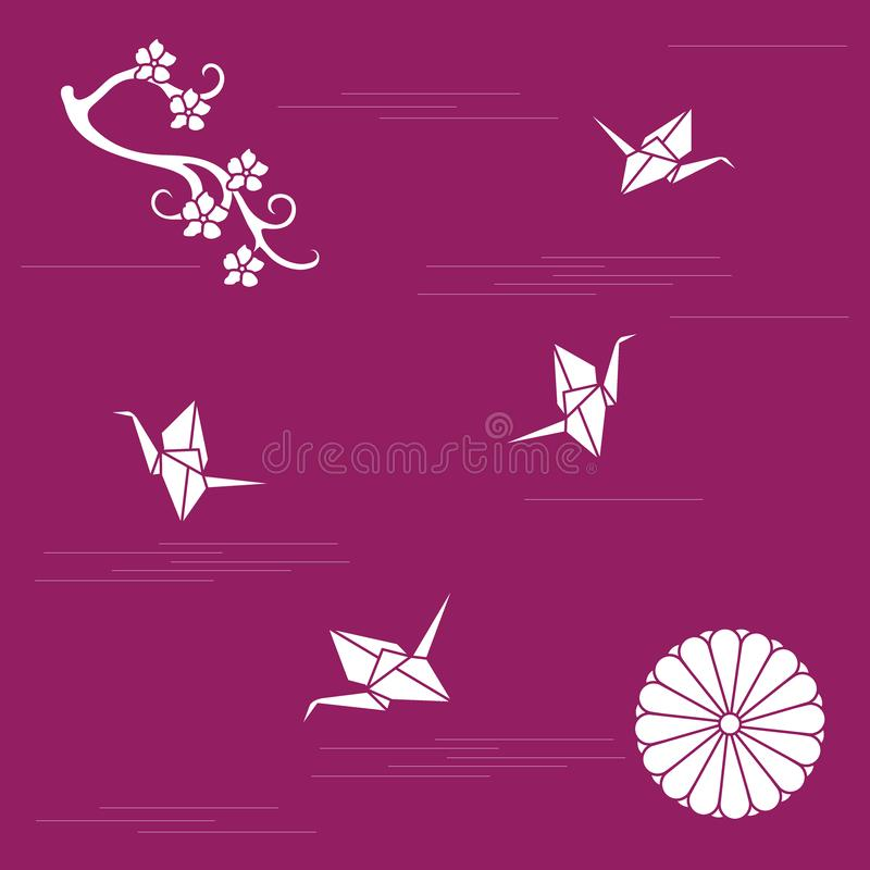 Branch of cherry blossoms, sixteen petal chrysanthemum and origami paper cranes. Set of Japan traditional design elements vector illustration