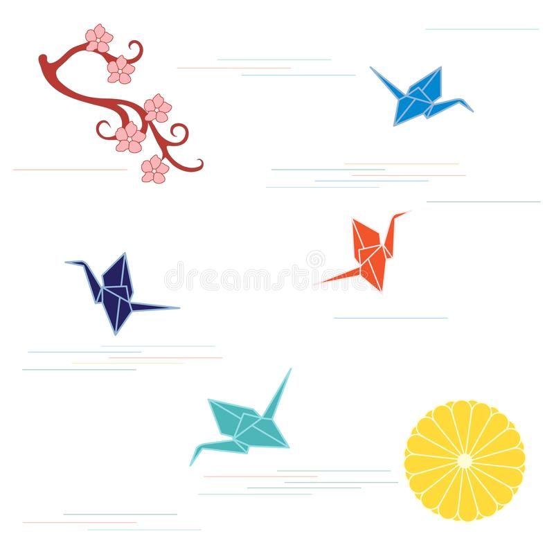 Branch of cherry blossoms, sixteen petal chrysanthemum and origami paper cranes. Set of Japan traditional design elements royalty free illustration