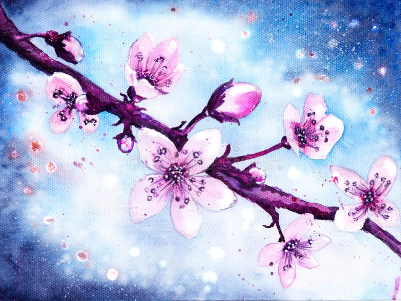 Branch of cherry blossoms on a white-blue background. Watercolor picture. Beautiful branch of cherry tree blossoms against the blue sky. Handmade stock illustration