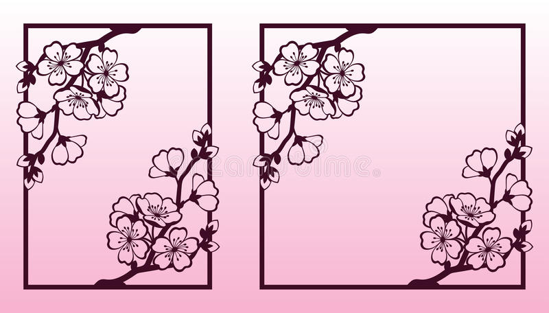 A Branch Of Cherry Or Sakura Blossoms. Laser Cutting Templates ...