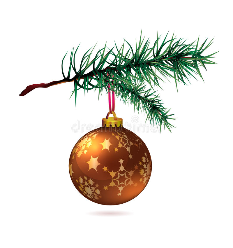 Branch of Christmas tree with bauble royalty free stock image