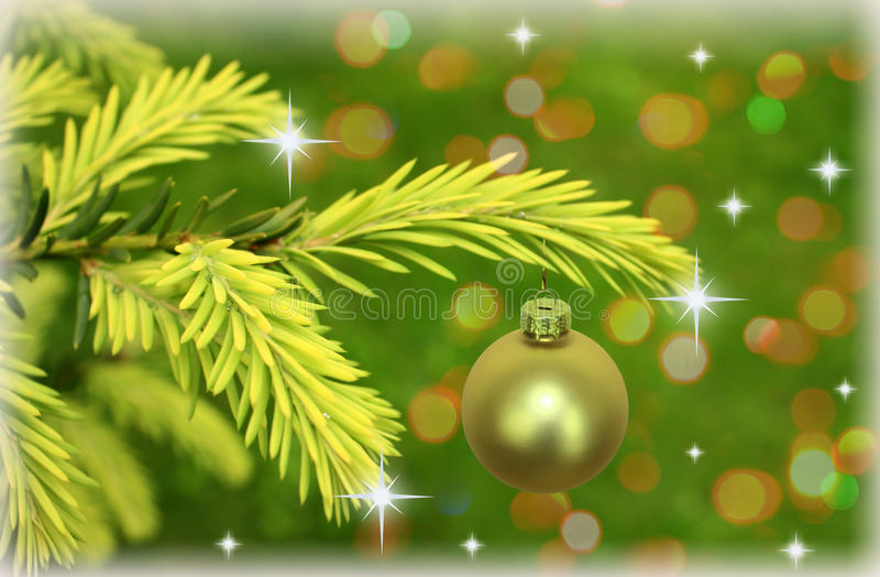 Download Branch Of Christmas Tree With Stars Stock Image - Image: 17296841