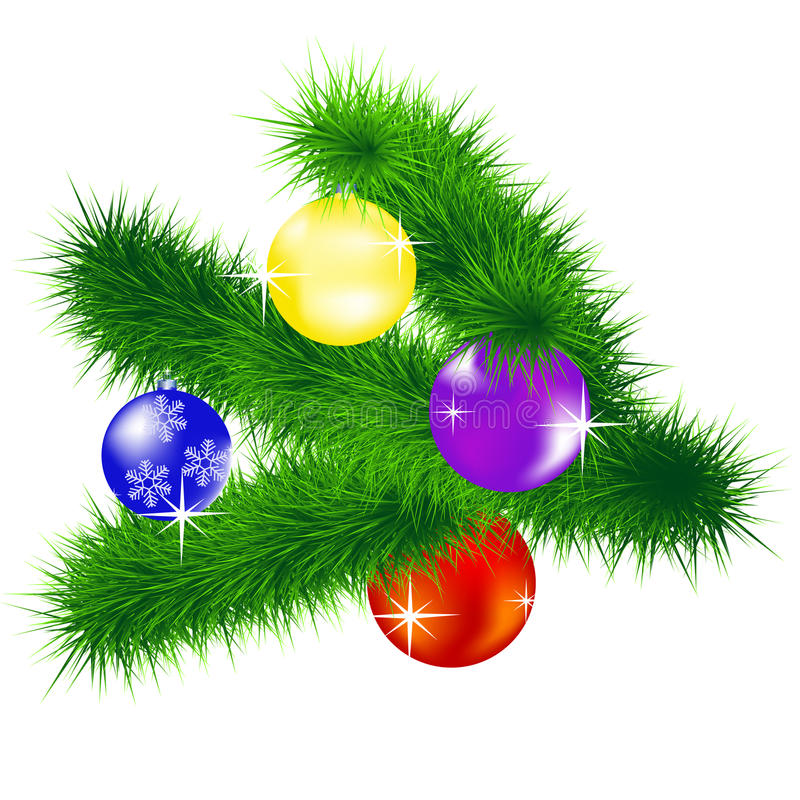 Branch of the fir tree with toy