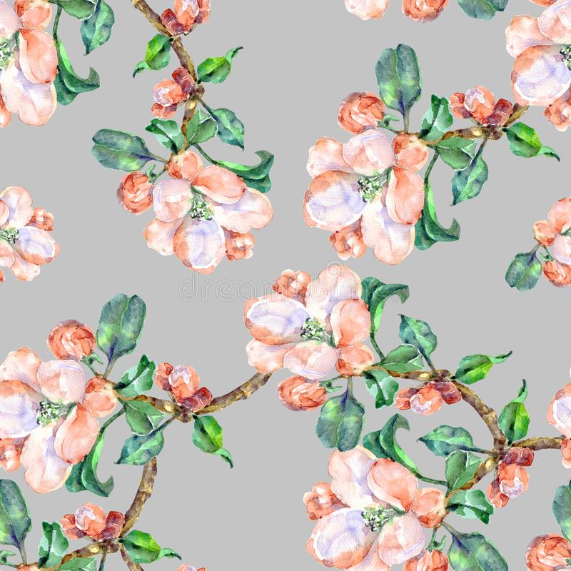 Free Branch Flowers Apple. Handiwork Watercolor Seamless Pattern On A Blue Background. Stock Photo - 113578650