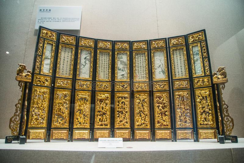 A branch of the Guangdong Museum, dedicated to collections of very high historical value of wood art. A lot of technology made art. Engraved with the ancient royalty free stock photography