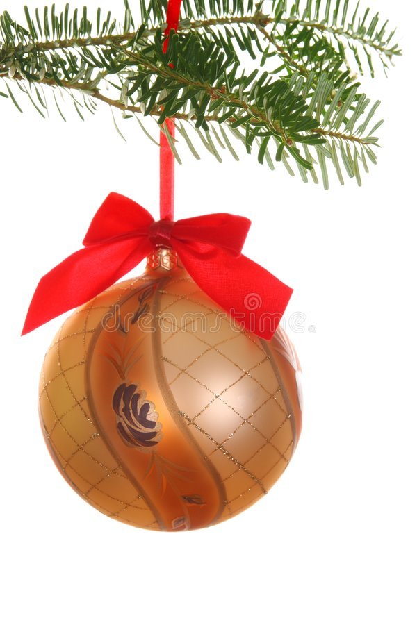 Download Branch With Hanging Gold Bauble Stock Image - Image: 7106493