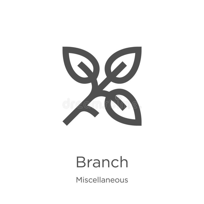branch icon vector from miscellaneous collection. Thin line branch outline icon vector illustration. Outline, thin line branch vector illustration