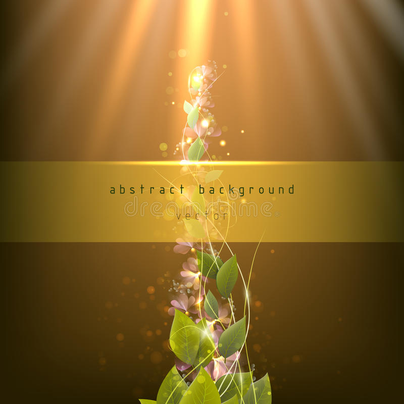 Branch with leaves on an abstract background with rays and spots royalty free stock images