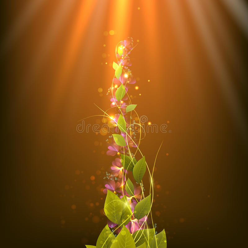 Branch with leaves on an abstract background with rays and spots stock photos