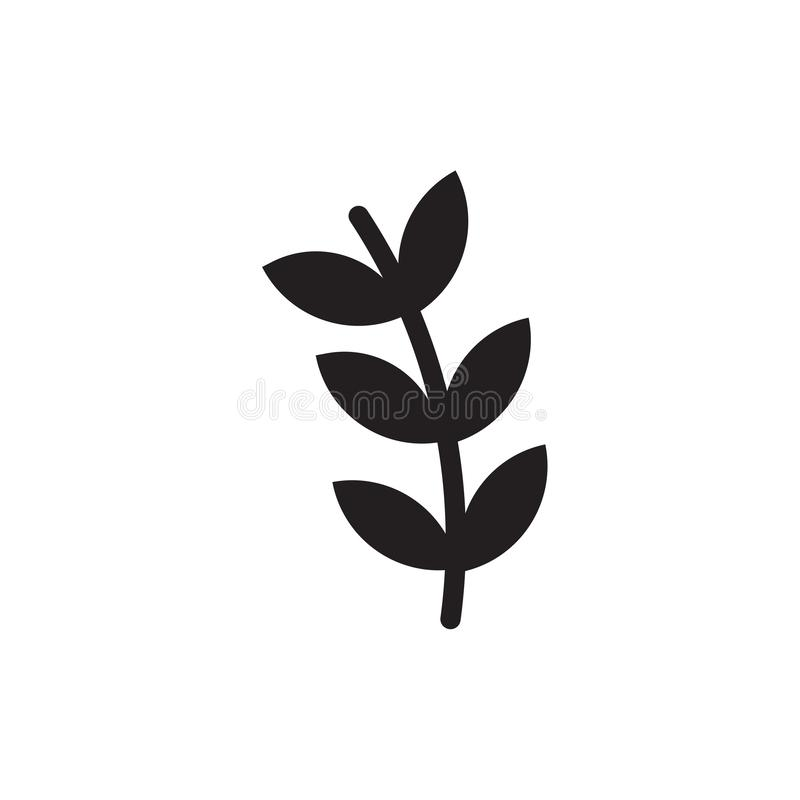 Branch with leaves icon vector sign and symbol isolated on white background, Branch with leaves logo concept. Branch with leaves icon vector isolated on white stock illustration