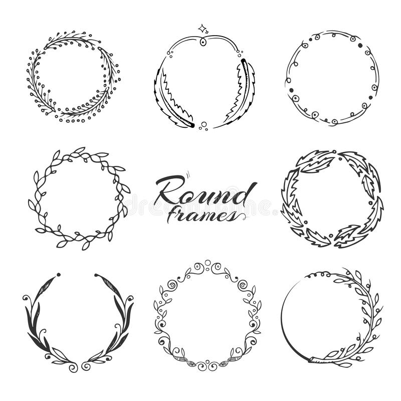 Branch with leaves, laurel wreath, floral circle frames for decoration. royalty free illustration