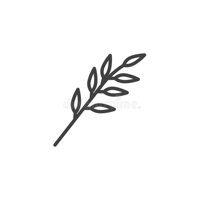 Branch with leaves line icon stock illustration
