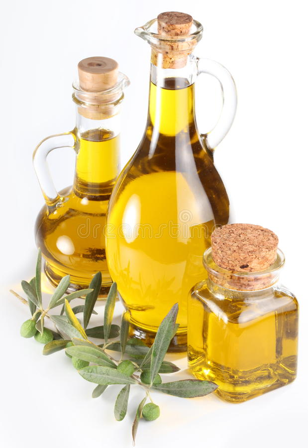 Download Branch With Olives And A Bottles Of Olive Oi Stock Photography - Image: 14752132