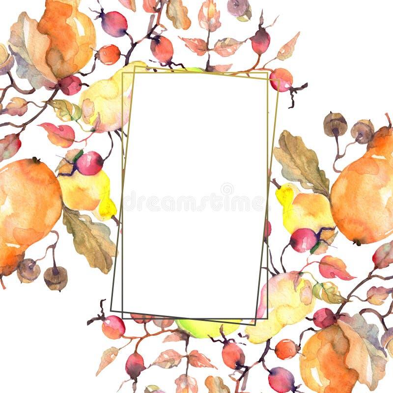 Branch of pears with rose hips fruit. Watercolor background illustration set. Frame border ornament square. Branch of pears with rose hips fruit. Leaf plant stock illustration