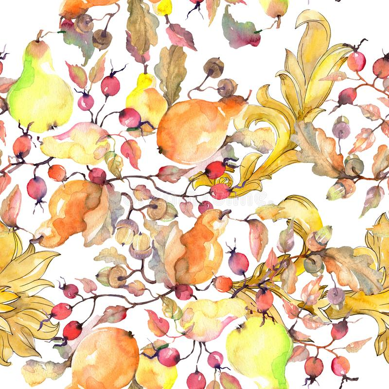 Branch of pears with rose hips fruit. Watercolor background illustration set. Seamless background pattern. royalty free illustration