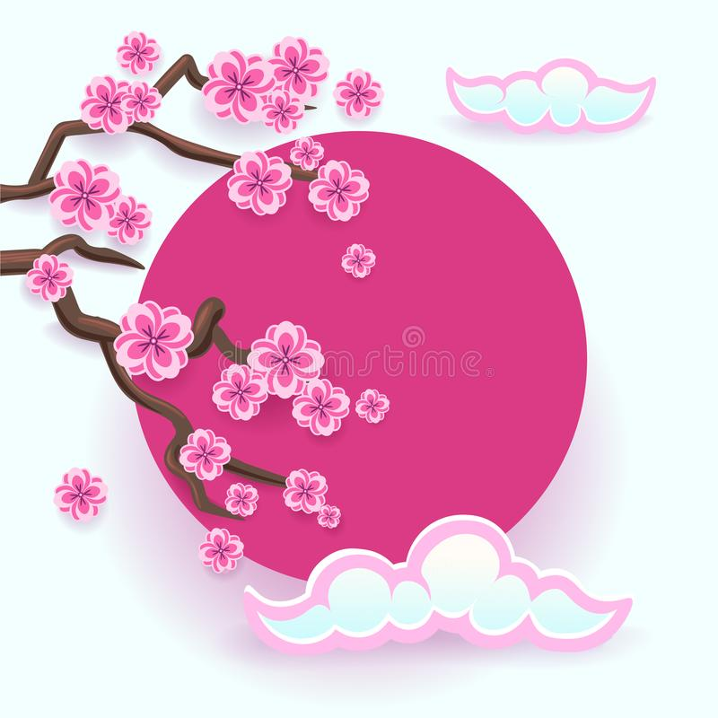 Download Branch Of Pink Sakura Japanese Cherry Tree Blossom With Rising Sun Stock Vector