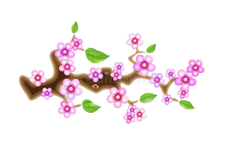 Branch sakura, illustration cherry blossom, with flowers in anime style. Unorthodox East Asian decoration tradition in. Partially animated stylistic solution stock illustration