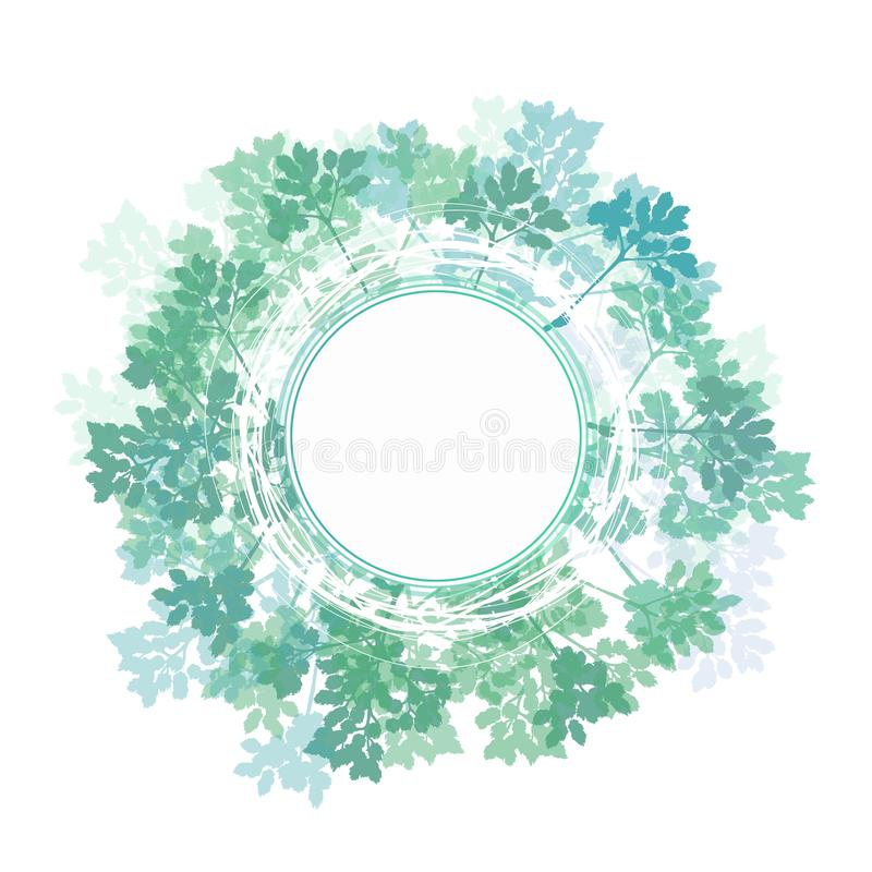 Branch of a tree, in the style of sketching. Green leaves on a white background in a circle vector illustration
