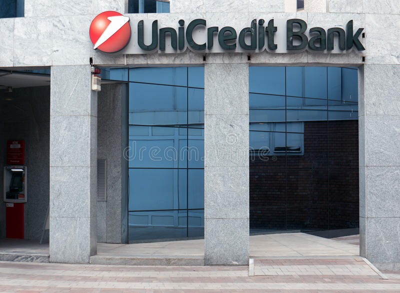 Branch of UniCredit Bank in Budapest royalty free stock photography