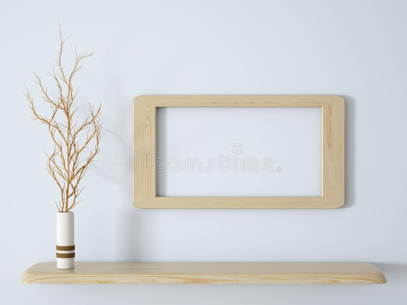 Branch in white vase on the wooden shelf with frame 3d rendering. Branch in white vase on the wooden shelf with frame background 3d rendering vector illustration