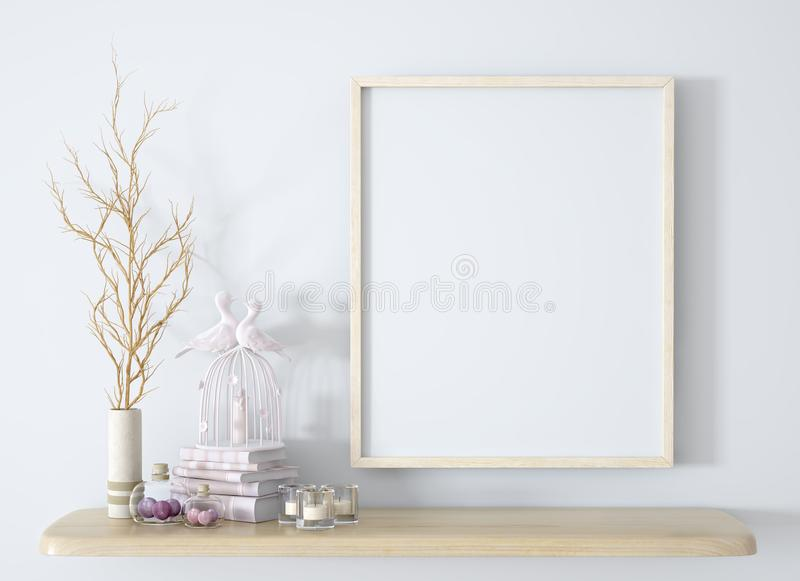 Branch in white vase on the wooden shelf with frame background 3d rendering royalty free stock images
