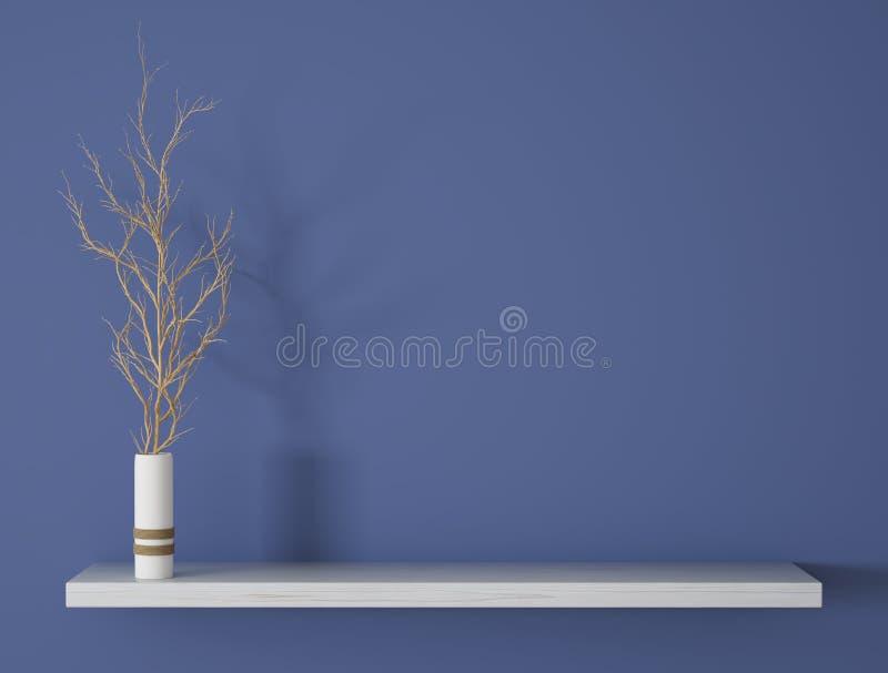 Branch in vase on the shelf background 3d rendering. Branch in white vase on the wooden shelf over blue wall background 3d rendering stock illustration