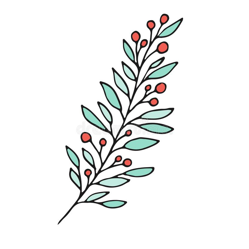 Free Branch With Berries. Floral Print Design. Nature Logo Illustration. Stock Photo - 128172350