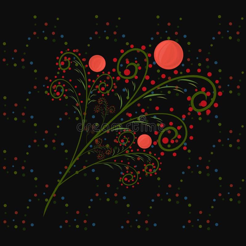 Branche élégante de fête avec les baies rouges sur un fond noir illustration libre de droits
