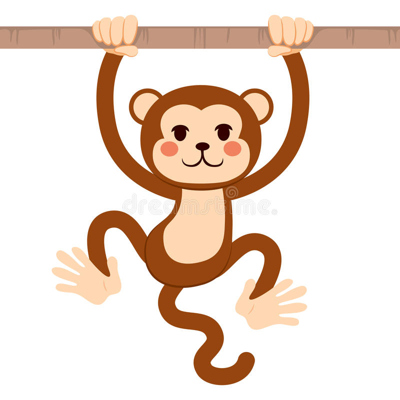 Branche accrochante de singe illustration stock