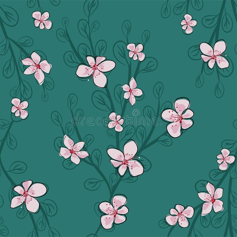 Branche avec les feuilles vertes et l'illustration sans couture ENV 10 de vecteur de Sakura illustration stock