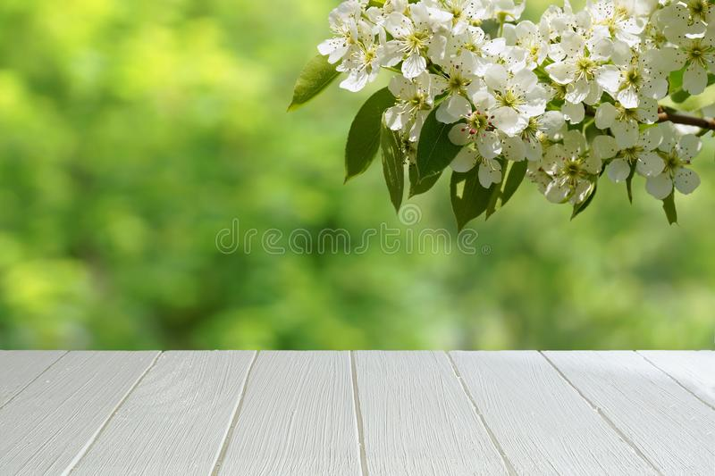 Branche blanche vide de table et de cerise photographie stock