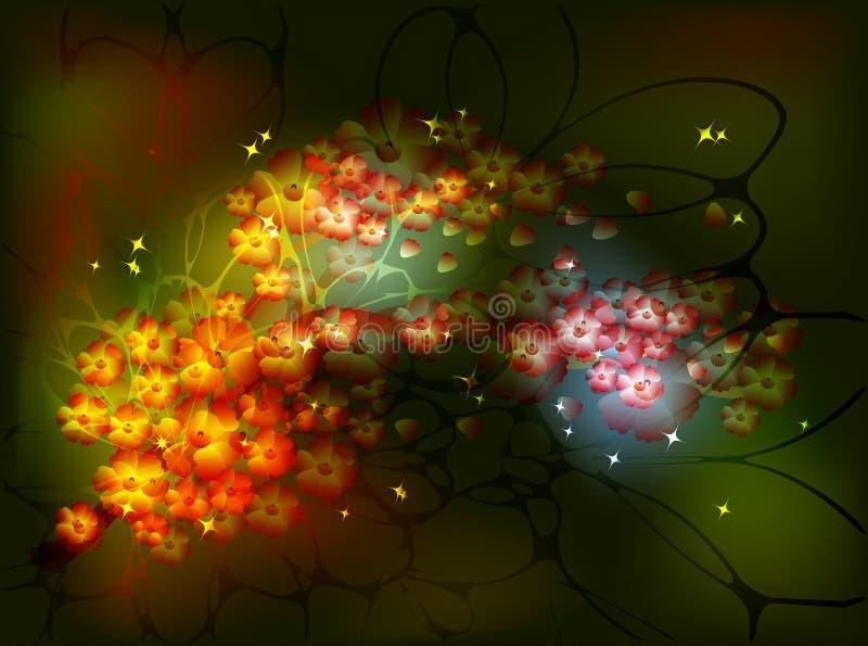 Branche décorative de Sakura avec des groupes de fleurs pour le fond féerique de nuit avec des étoiles et le scintillement Vecteu illustration libre de droits