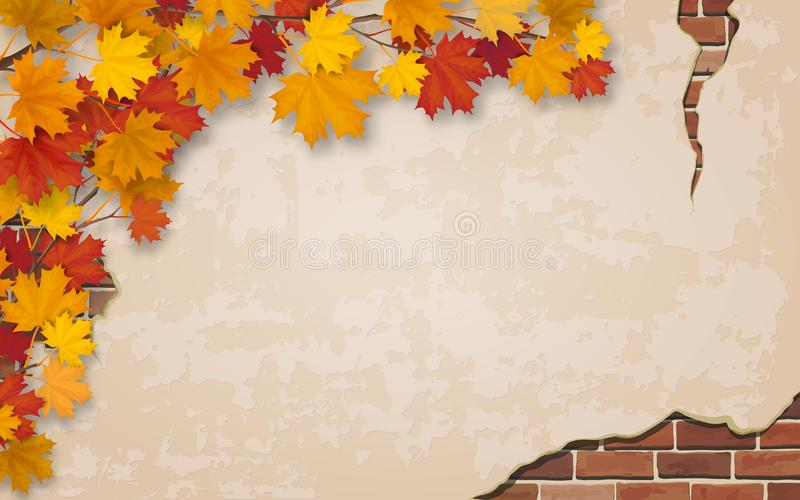 Branche d'érable d'automne sur le vieux fond de mur illustration de vecteur