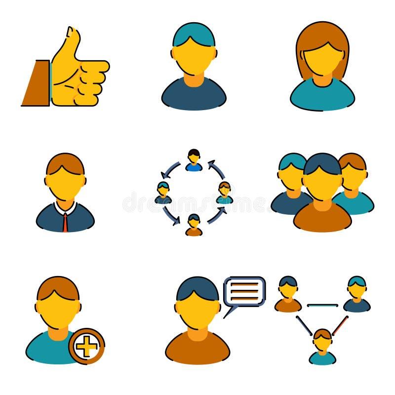 Branche d'activité de gestion de ressources humaines icônes réglées illustration stock