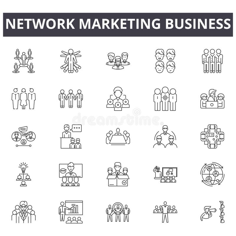 Branche d'activité de vente de réseau icônes, signes, ensemble de vecteur, concept linéaire, illustration d'ensemble illustration de vecteur