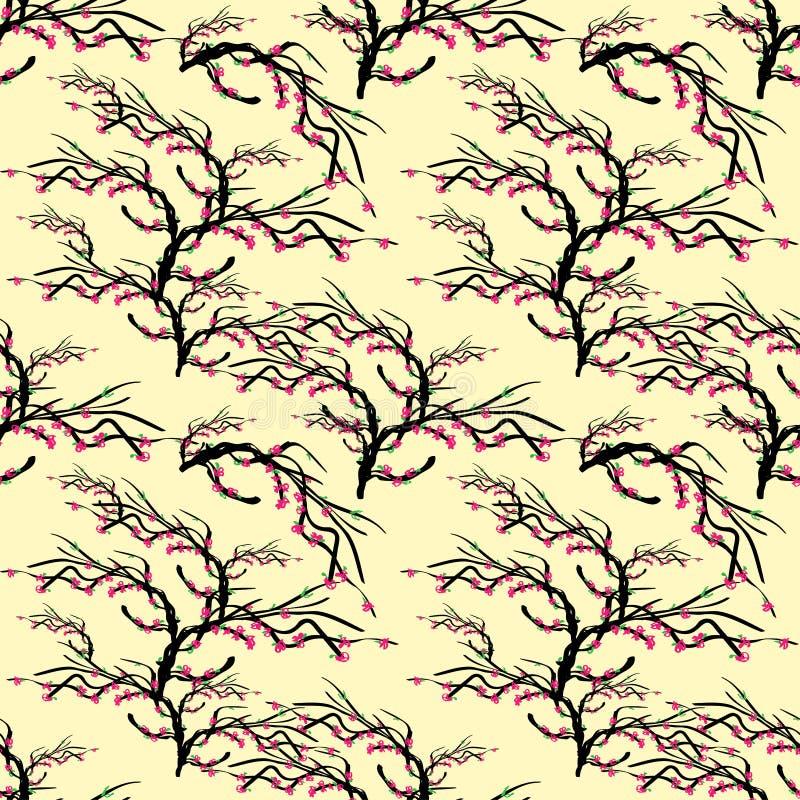 Branche d'arbre abstraite avec les fleurs roses et les feuilles vertes dessinées sur un fond brun clair illustration de vecteur