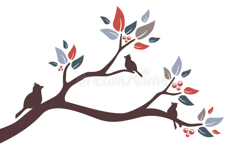 Branche d'arbre d'oiseau illustration de vecteur