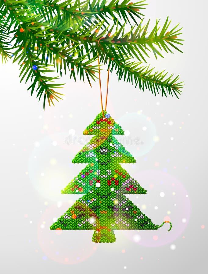 Branche d'arbre de Noël avec le pin tricoté décoratif illustration libre de droits